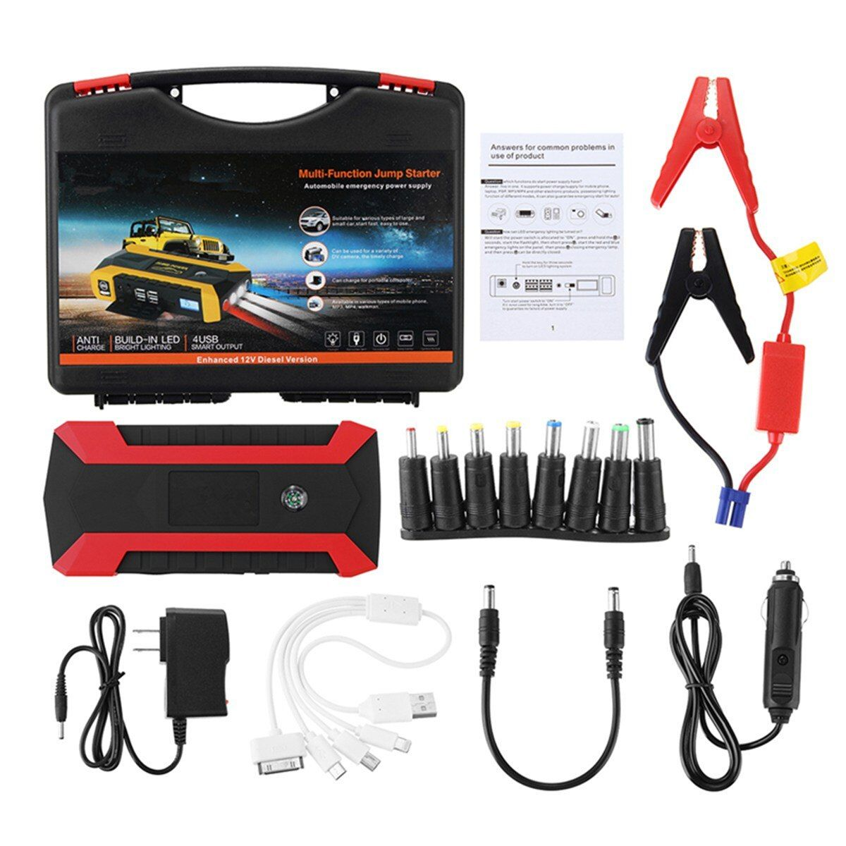 Newest 89800mAh Multifunction 1set Car Charger Battery Jump Starter 4USB LED Light Auto Emergency Mobile Power Bank Tool Kit