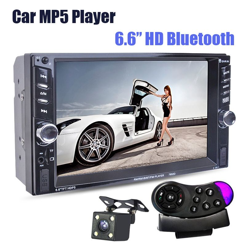 NEW 6.6' inch LCD Touch screen car radio mp5 player BLUETOOTH mp4 mp3 audio 1080P movie Support rear view camera 2 din car audio