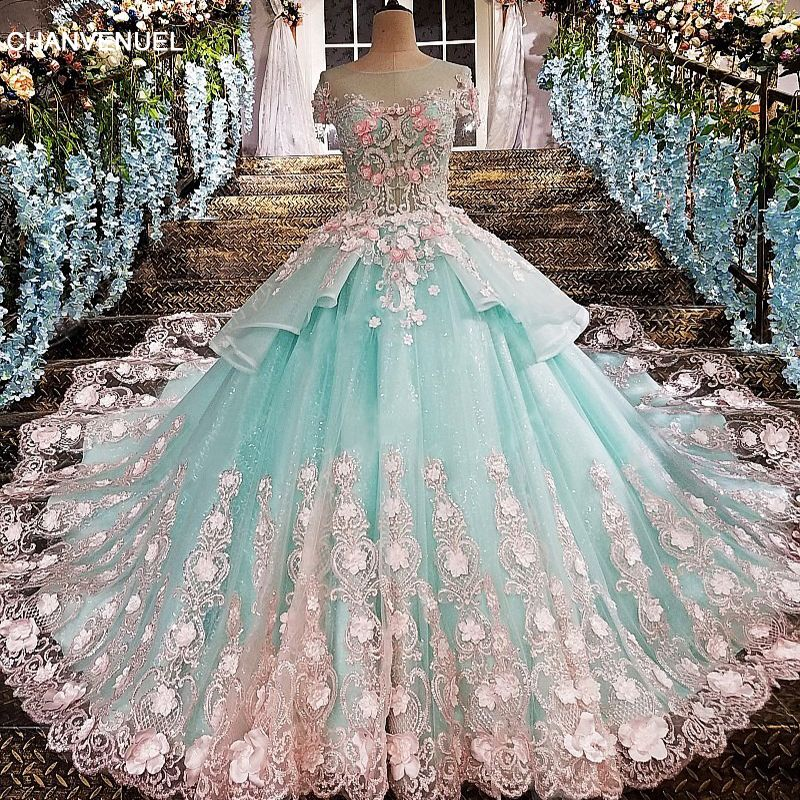 LS00173 evening dress see through back flowers green appliques lace and 3D flowers o-neck floor lengyh vestidos de festa organza