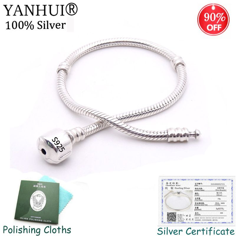 90% OFF! Original Fine Jewelry 925 Solid Silver Charm Bracelet With Certificate Soft/Smooth Snake Bone Bracelet for Women YHS005
