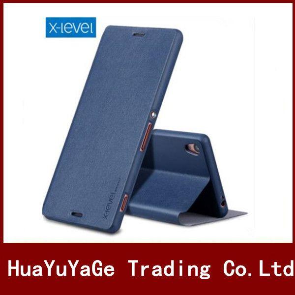 Téléphone Cas X-Niveau ultra mince Anti-chute antichoc Flip En Cuir PU + TPU Stand Cas de couverture Pour Sony Xperia Z L36H Z1 L39H Z2 L50W