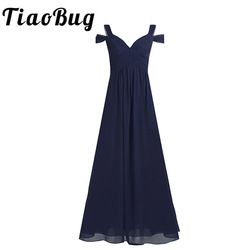 Women Ladies Chiffon Off-The-Shoulder Long Bridesmaid Dress Women Side Split High-waisted Floor Length Prom Wedding Party Dress