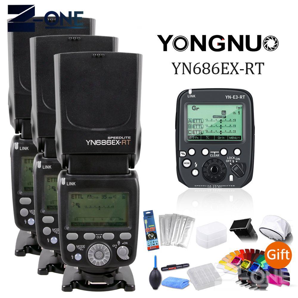 3 stücke YONGNUO YN686EX-RT 2,4G TTL HSS Blitz Speedlite + YN-E3-RT Controller für Canon 5DIV 5D3 5D2 7D Mark II 6D 70D 60D 650D