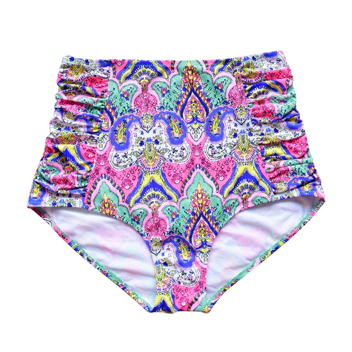 Neue Ankunft Hohe Taille Badehose Bikini Bottoms Frauen Strand Druck Floral Bademode unterwäsche Schwimmen Shorts Briefs