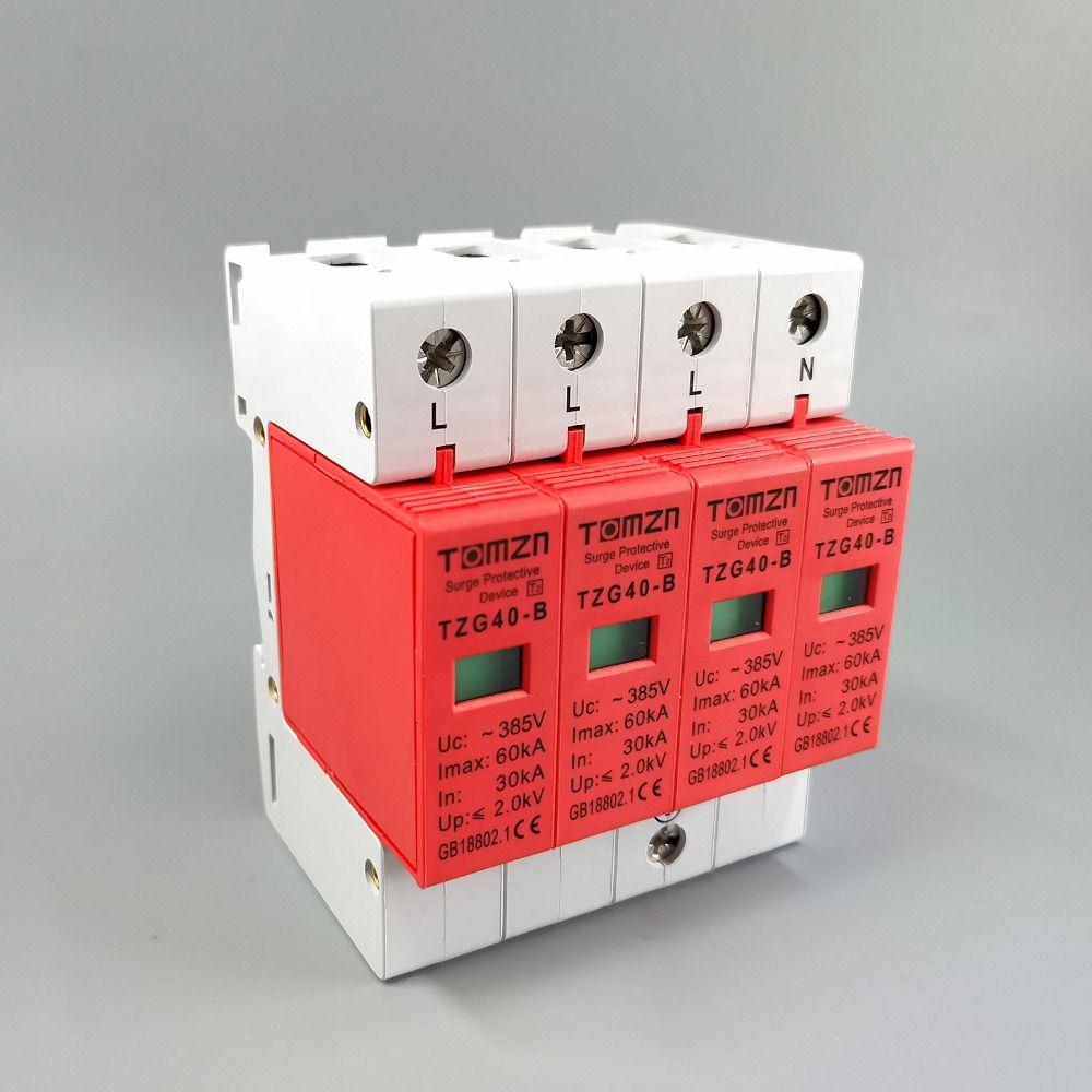 AC SPD 3P+N 30KA~60KA B ~385V House Surge Protector Protective Low-voltage Arrester Device