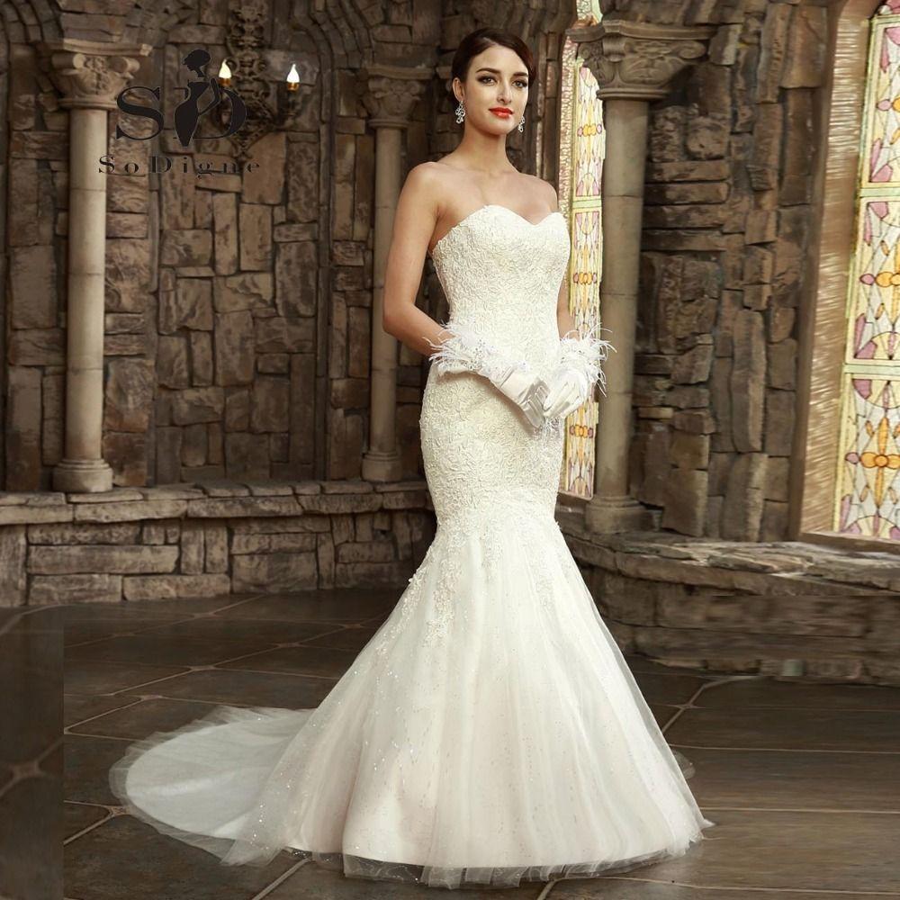 Vestido de novia 2017 sodigne el venir más nuevo sexy sirena cariño Encaje applique Encaje-UP del hombro fishtail Vestidos de novia