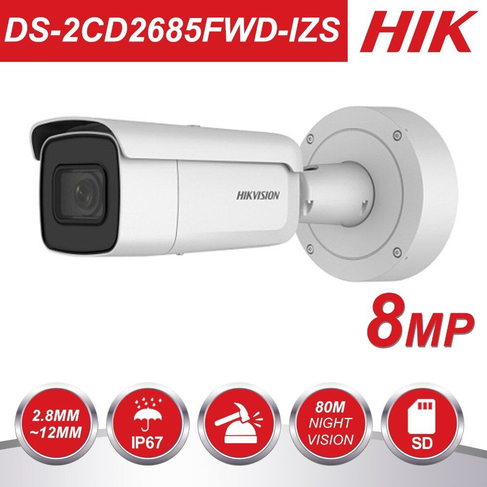 HIK Variabler brenn 2,8-12mm Kugel IP Kamera DS-2CD2685FWD-IZS 8 Megapixel Video Überwachung POE CCTV Kamera H.265 IR 50 m