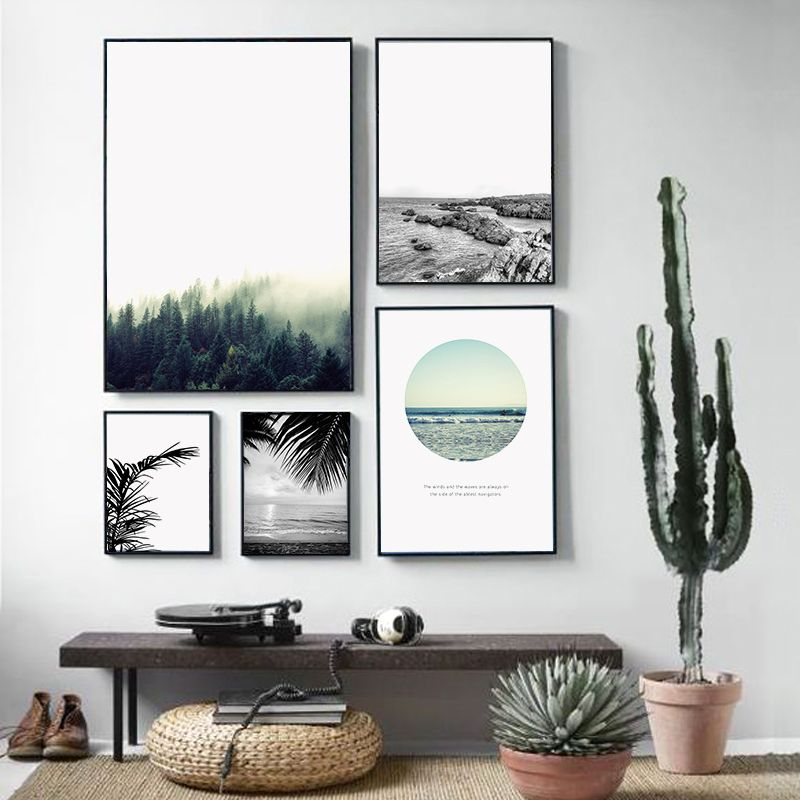 900d Nordic Landscape Canvas Art Print Painting Poster, Forest Wall Pictures For Home Decoration, Wall Decor BW005