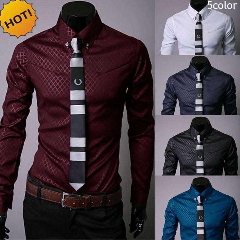 New2017 Fashion Autumn dress Shirt Long-Sleeve camisa masculina Dark Grain Diamond lattice Hot Style cardigan Men's Dress shirts