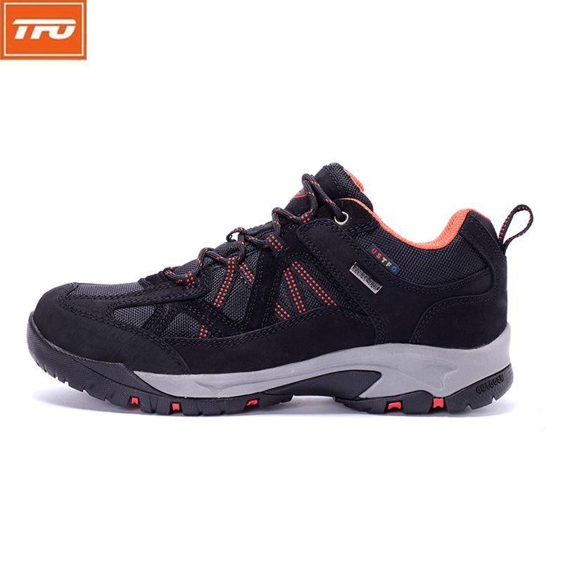 TFO Hombres Montañismo Zapatos Respirables Impermeables Zapatillas de deporte de los Zapatos de Senderismo Hombres Zapatos Al Aire Libre de Los Hombres de Cuero Genuino