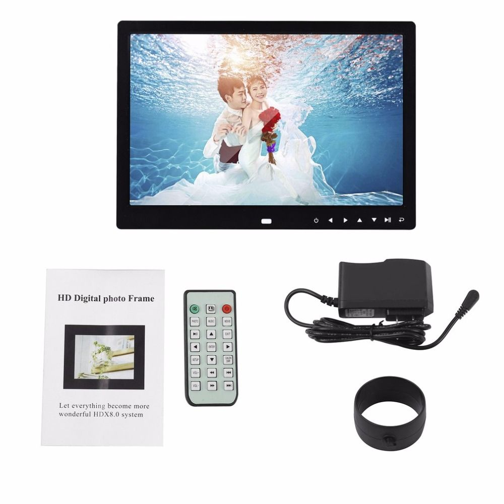 LED Digital Photo Frame 12 Inches 1280*800 High Resolution Electronic Frame Front Touch Buttons Pictures Music Video Playing