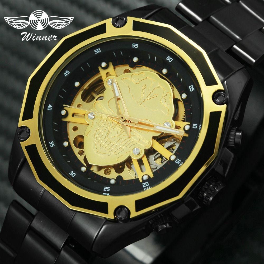 WINNER COOL INS Fashion Auto Mechanical Men Watch 2019 Skeleton Skull Golden Black Top Brand Luxury Forsining Wristwatches W/BOX
