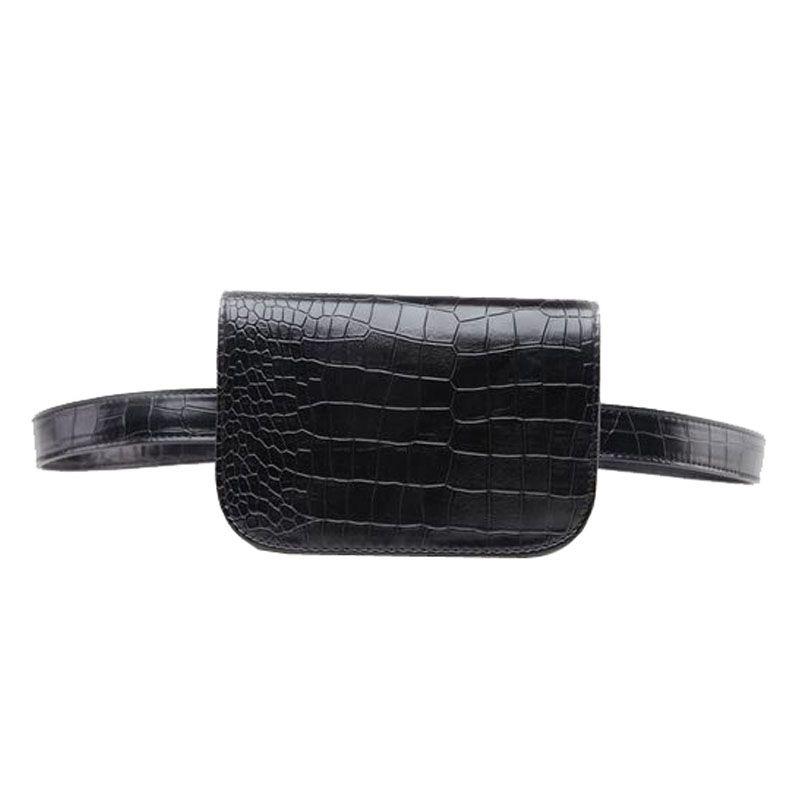Vintage PU Leather Waist Bag Women Alligator Waist Pack Travel Belt Wallets Fanny Bags Ladies Fit 5.5 inches phones