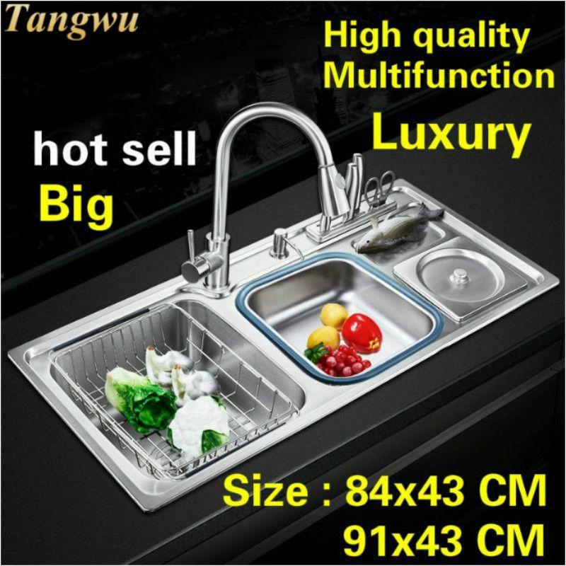 Freies verschiffen Standard mode küche waschbecken lebensmittel grade 304 edelstahl doppel nut heißer verkauf 84X43/91x43 CM