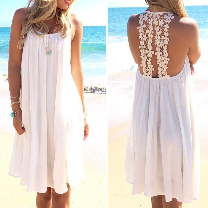 Neue Sommer Badeanzug Spitze-höhle Crochet Strand-bikini-vertuschung Backless Frauen Tops Badebekleidung Strandkleid Weiß Strand Tunika Shirt