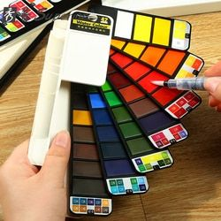 18/25/33/42Colors Solid Watercolor Paint Set With Water Paint Brush Portable Watercolor Pigment For Artist Art Supplies
