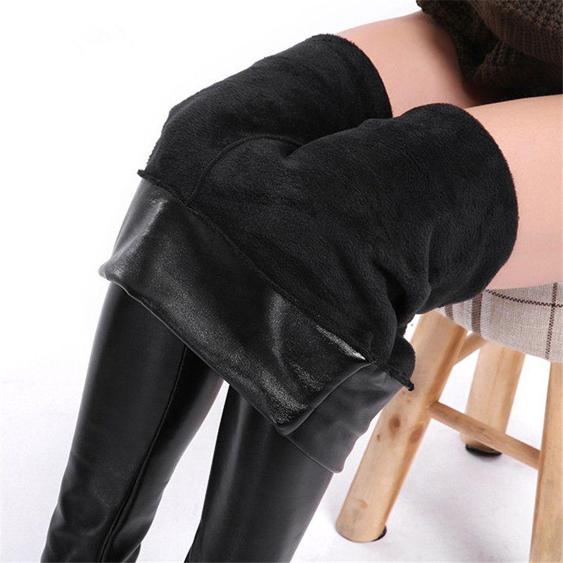 CHRLEISURE 5XL Plus Size Velvet Leather Legging Warm Winter Women Faux Leather Leggin Long high Waist Slim Legging Women