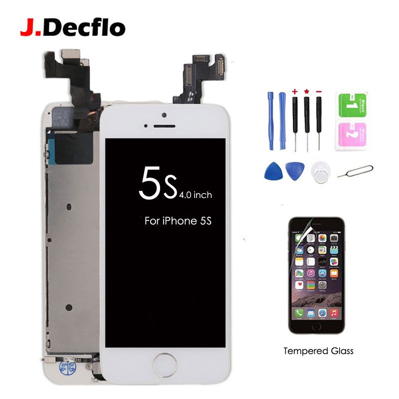 Full Set Assembled LCD Touch Screen Digitizer For iPhone 5s+Home Button+Front Camera+Ear Speaker with Gifts Tempered Glass+Tools