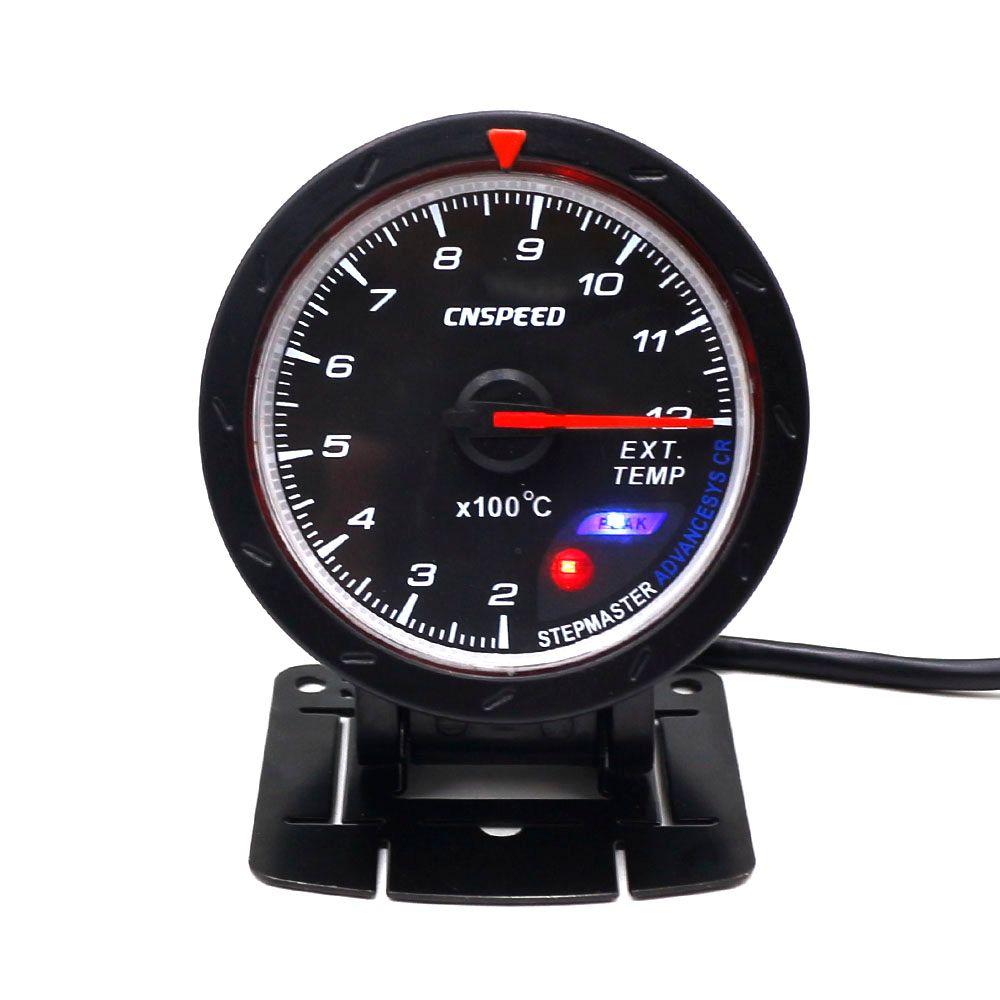 CNSPEED 60MM Car Exhaust Gas Temp Gauge EGT EXT Temp Gauge With Red & White Light gauge Car Meter MS101169