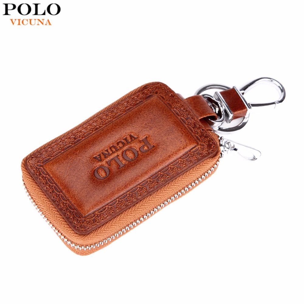 VICUNA POLO Genuine Leather Mens Car Key Wallet Famous Brand Embossed Edge Cowhide Key Holder For Car Mens Car Key Purse New