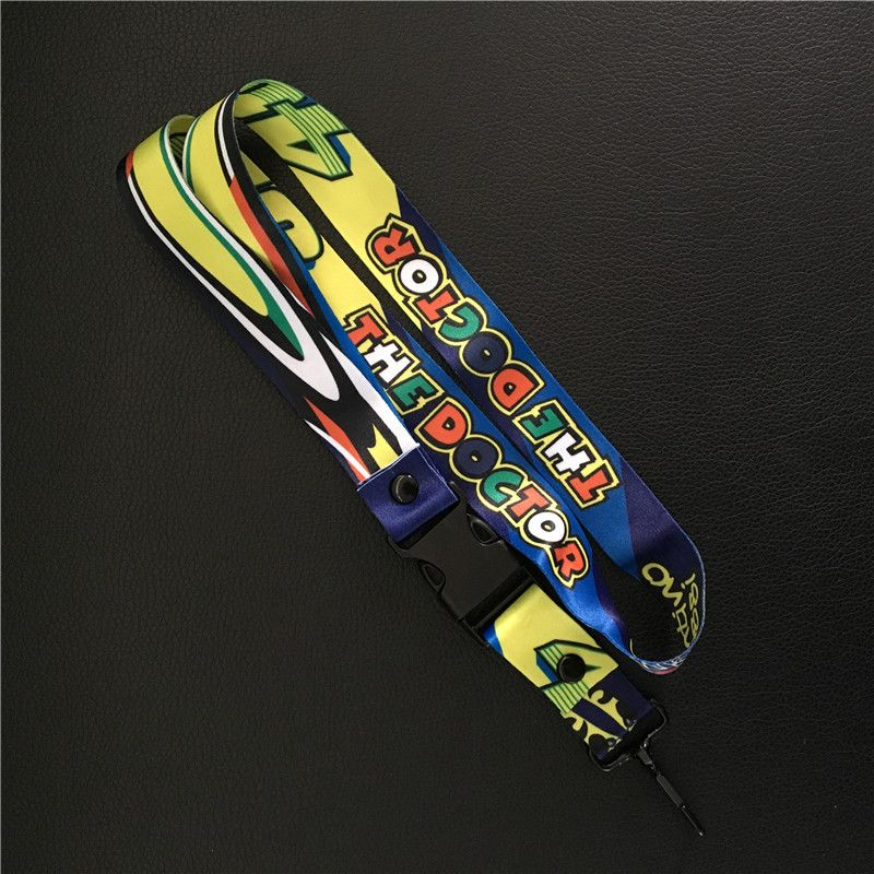 10pcs VR46 Rossi Motorcycle keychain keyring for Valentino Rossi Fans VR46 Phone lanyard Neck Strap MotoGP F1 ID holder gift
