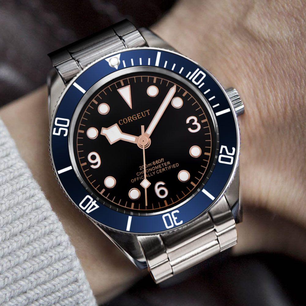 Corgeut Luxury Brand  Mechanical Watch Schwarz Bay Men Automatic Military Sport Swim Clock Leather Mechanical Wrist Watches
