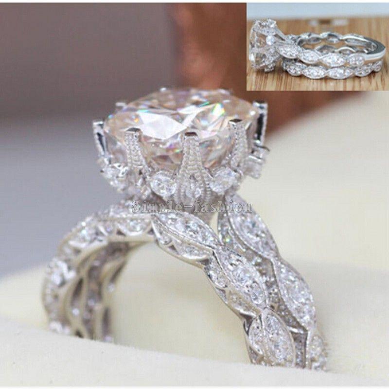 2016 Бренд Дизайн Винтаж кольцо круглого сечения 3ct 5A Циркон CZ 925 серебро Обручение обручальное кольцо для женщин