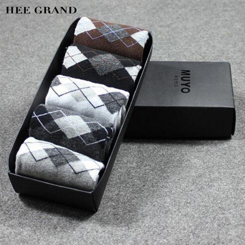 Hee grand 5 par/lote hombres calcetines otoño calcetines gruesos calcetines de invierno cálido calcetines de algodón transpirable casual clásico con caja de regalo nwm288