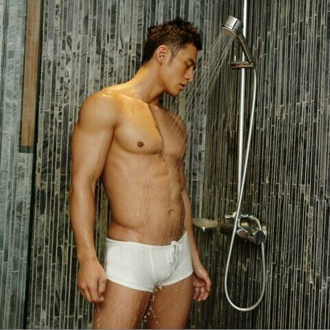 Private customized BOYTHOR A new brand Male white low-waist boxer swimming trunk swimwear swimming pants four angle