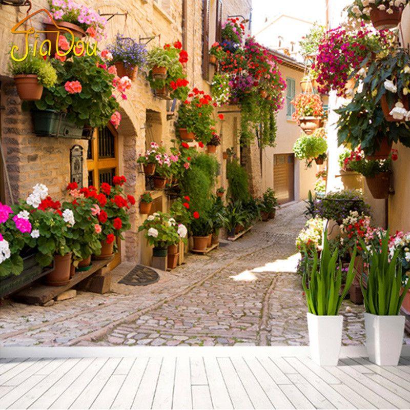 European Street Scenery Benutzerdefinierte Wandtapete Blumen Voller Wand Wandmalereien Gedruckt Home Decor Fototapete Papel De Parede 3D