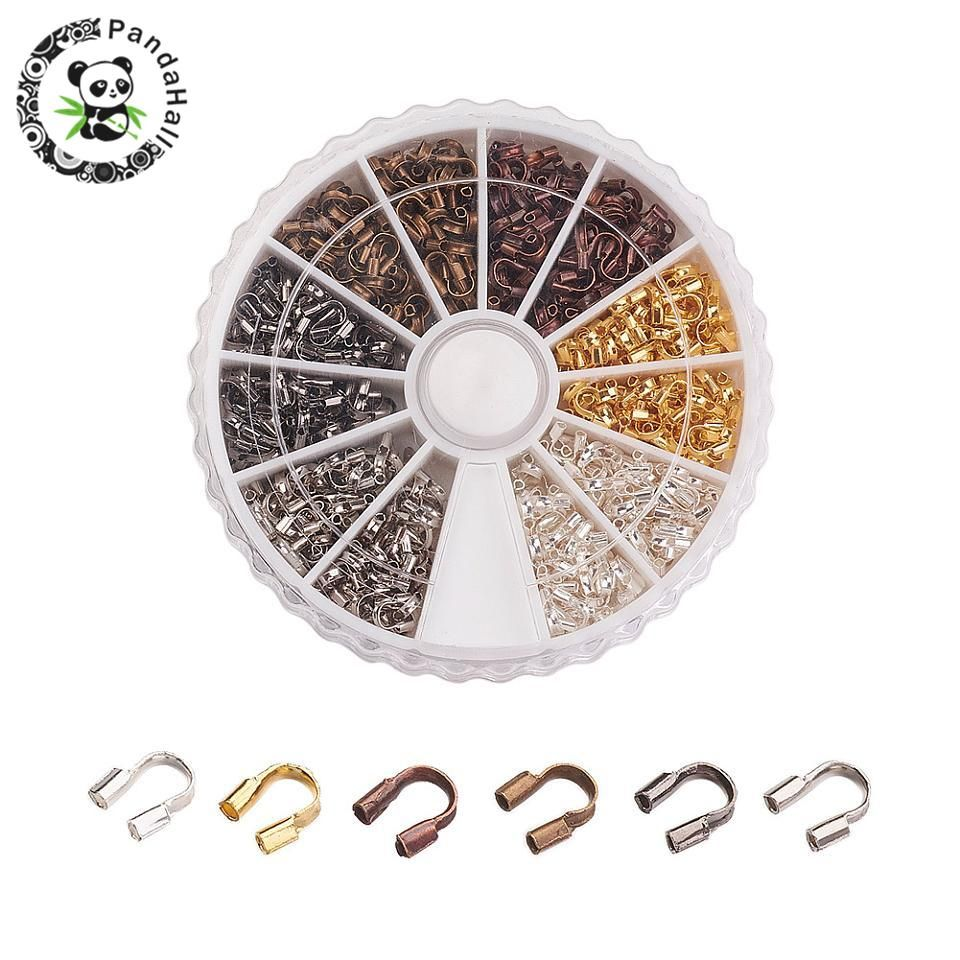 540pcs/box Brass Wire Guard Guardian Wire Protectors Loops Jewelry Findings 5x4x1mm, Hole: 0.5mm; 6 Colors Mixed Color