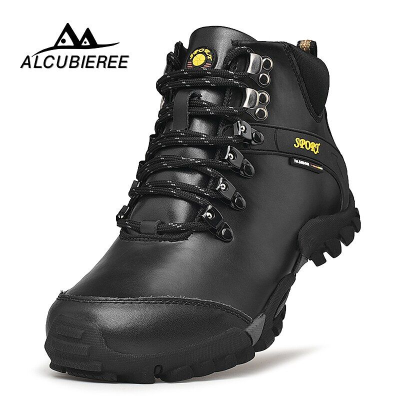2018 New Men Leather Hiking Boots Waterproof Men Moutain Boots Shoes Climbing Outdoor Male High Top Trekking Shoes