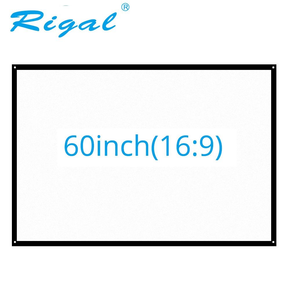 Rigal 60 inch 16:9 Portable Projector Screen Plastic Projection Screen Matte White for Wall Mounted Home Theater Bar Travel