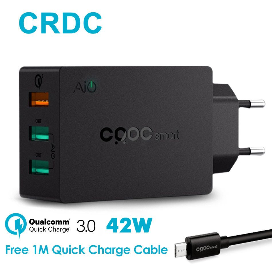 CRDC Quick Charge 3.0 USB Wall Charger 42W Fast Portable Mobile Phone Charger For iPhone iPad Xiaomi Samsung s7s6 etc USB Device