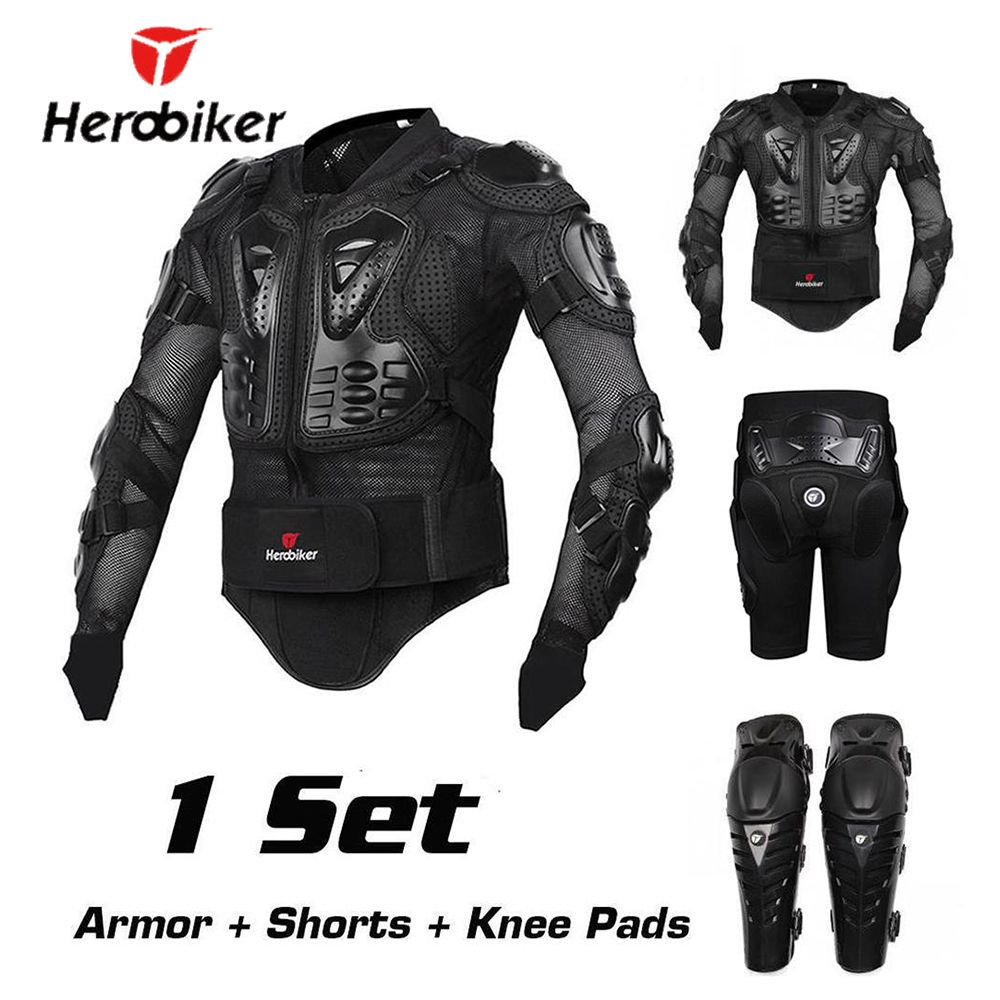 HEROBIKER Motorcycle Protection Motorcycle Armor Moto Protective Gear Motocross Armor Racing Full Body Protector Jacket Knee Pad