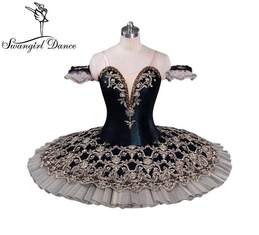 Wien Winter Frauen Competiton Schwarz Ballett Berufs Tutu Kostüm Kinder Leistung Puppe Pfannkuchen Tutu Kleid BT9071