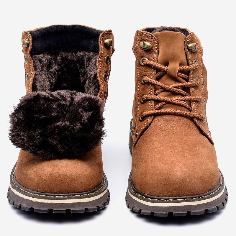 Pleine fleur En Cuir Hommes Hiver Bottes Taille 38 ~ 50 Main Chaud Hommes D'hiver Chaussures #8988
