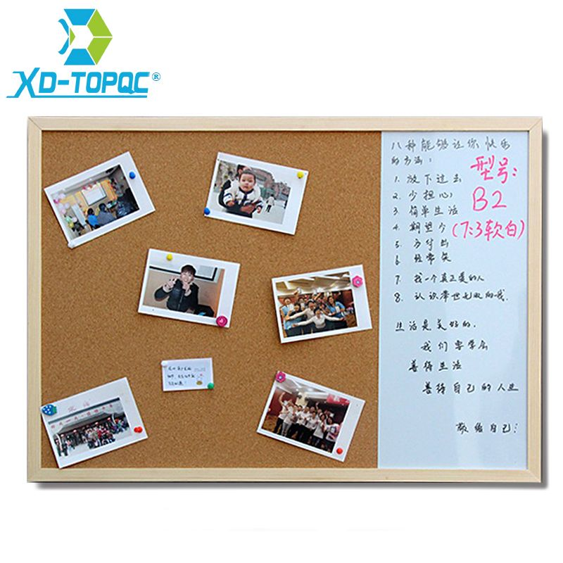 XINDI 30*40cm Whiteboard Cork Board Combination 3:1 Dry Wipe Bullentin <font><b>Drawing</b></font> Board Pine Wood Frame New Magnetic White Boards