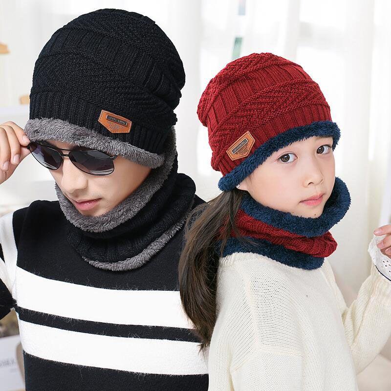 BINGYUANHAOXUAN hiver chapeau plus chaud cou écharpe tricoté casquette hiver chapeaux pour hommes tricoté chapeau Beanie Parent-enfant Skullies chapeaux
