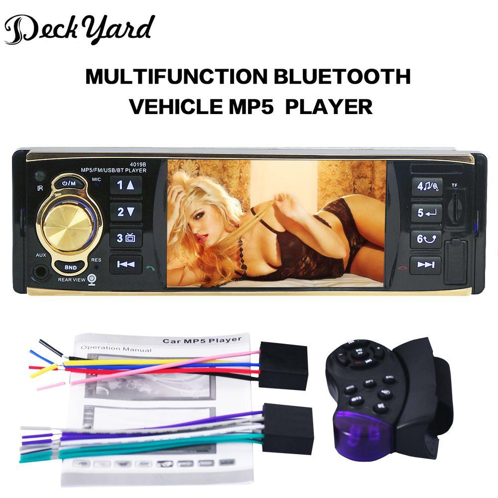 DeckYard 4019B 1-Din 4.1'' inch 12V Car Radio Auto Audio Stereo Bluetooth USB AUX FM Radio tuner with Remote Control Car Player