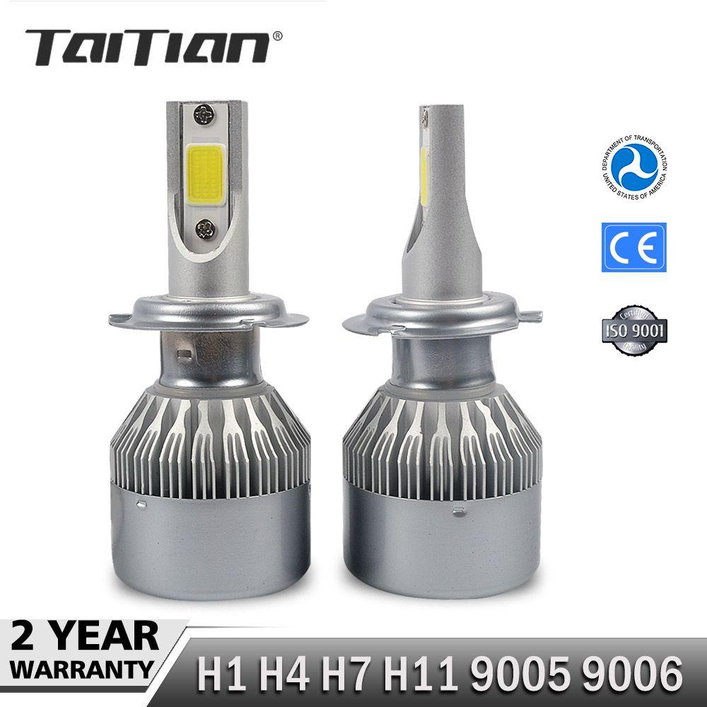 Taitian 2Pcs COB 72W 7600LM 6000K <font><b>dc12v</b></font> led Headlight H1 H4 H7 Car Fog Lamp H11 9005 9006 Canbus light ice Auto Bulbs for toyota