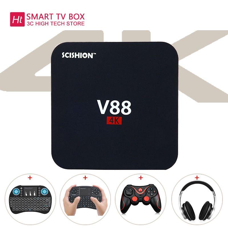 V88 Android 6.0 tv box Rockchip 3229 Quad-Core 1GB+8GB WIFI 4K 3D HD Smart TV BOX media player Add Keyboard Ship from Russian