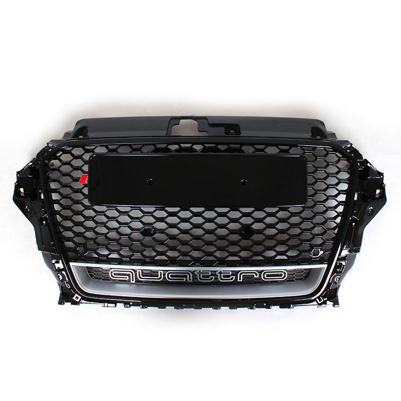 RS3 Style Black Honeycomb Mesh Front Bumper Grille For Audi A3 S3 2014-2016 Car Styling