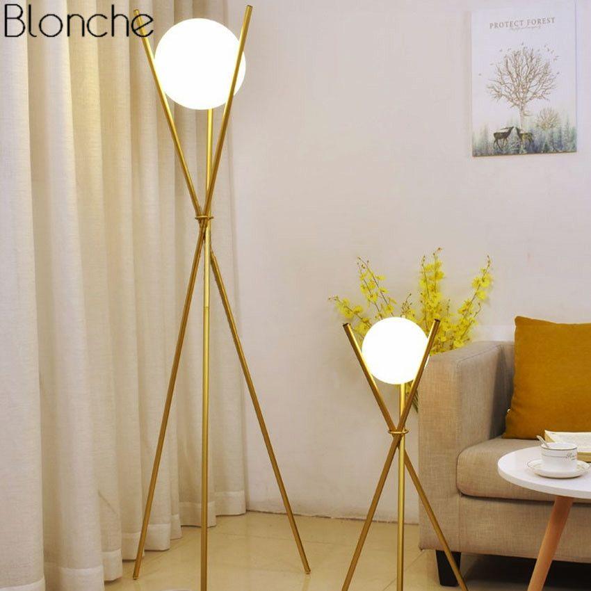 Moderne Glas Ball Gold Boden Lampe Stativ Stehende Lampen Metall Stand Lichter für Wohnzimmer Schlafzimmer Leuchten Dekoration