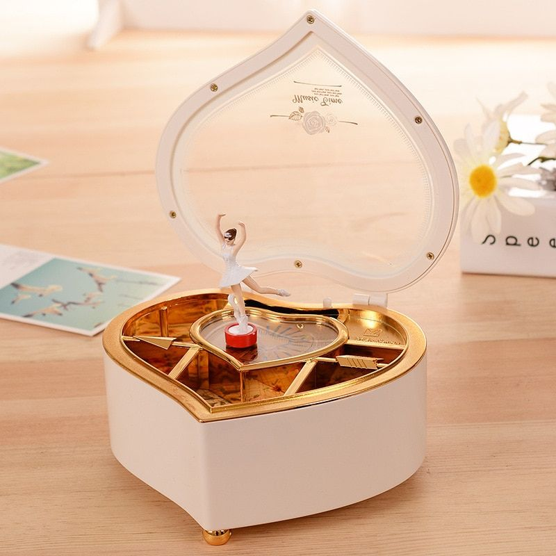 Boîte à musique ballerine dansante en forme de coeur boîte à bijoux en plastique filles carrousel manivelle boîte à musique mécanisme cadeau