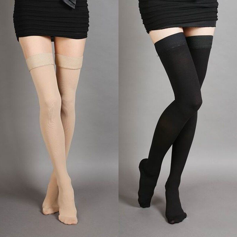 Hot-sale Varicose Veins <font><b>Thigh</b></font> High 25-30 mmHg Medical Compression Closed Toe Socks JL