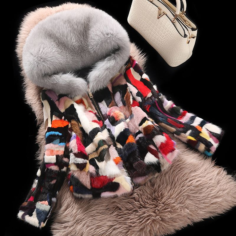 Large Fox Fur Collar Rainbow Elegant Real Mink Fur Coats Outerwear Women Natural Mink Fur Jackets Female Natural Fur Jacket