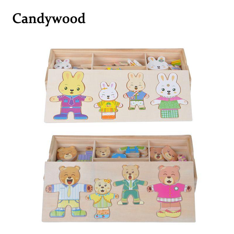 Lapin De dessin animé ours Changer de Vêtements En Bois Jouet Puzzles Montessori Éducatifs Robe Changer Puzzle jouets pour enfants cadeau