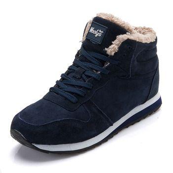 Обувь Спортивная обувь зимние Для мужчин повседневная обувь теплые меховые зимние сапоги Мужская обувь из флока мужские кроссовки 9908 Черны...