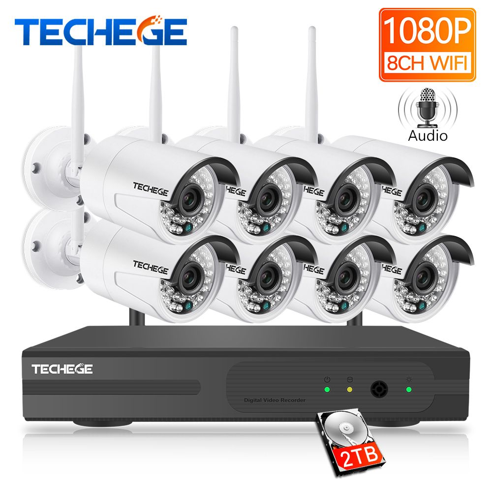Techege Plug And Play 8CH Wireless 2MP NVR Kit 1080P HD Waterproof Outdoor CCTV system Video Security System Surveillance KIT